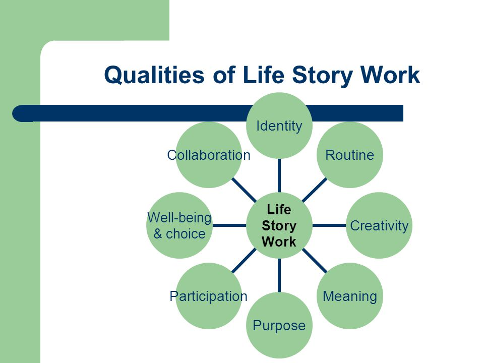 Summary Life story work can be an intervention to: Enable occupation, facilitating participants in doing, being and becoming – existing and interacting Promote sageing (do Rozairo, 1998) Prevent occupational disenfranchisement (French, 2002) Promote adaptation, self realisation and social independence Gain insight into humans as occupational beings and inform person centred care