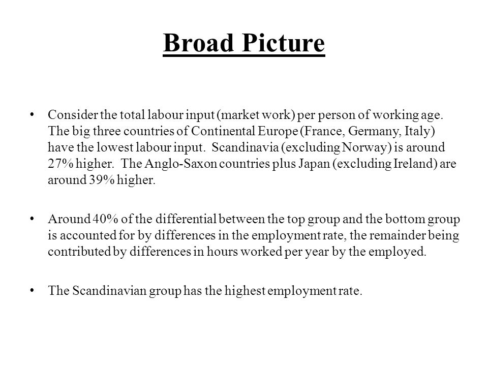 Broad Picture Continued Most of the variation in hours worked per year by the employed is accounted for by differences in weeks worked per year, not by hours worked per week.