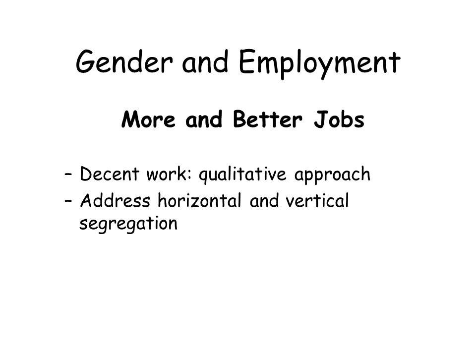 Gender and Employment Gender sensitive labour market policies: –Widen occupational choices –Gender-focus training and re-training systems –Enhance demand for female labour –Improve womens awareness of opportunities