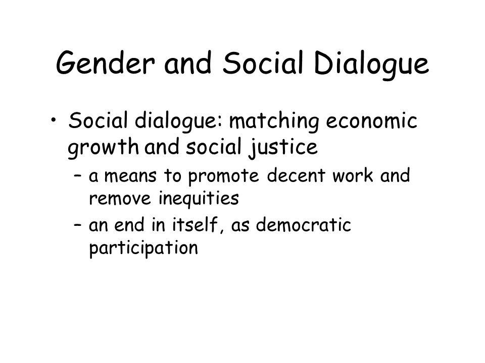 Gender and Social Dialogue –Improving womens representation in SD structures to include gender issues on the agenda and meet womens strategic needs –Reaching out new partnerships including EO machineries, non traditional actors, the non organized, SMEs, informal –Reinforcing womens organizational and negotiating capacity