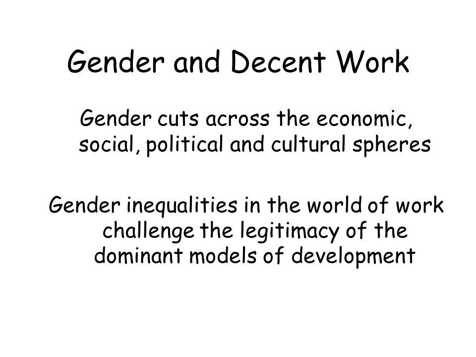 Gender and Decent Work Needs: –A holistic approach, macroeconomic level – Mainstreaming gender at the highest policy level –Attention to strategic and practical needs of women –A new paradigm of development, integrating social standards into economy