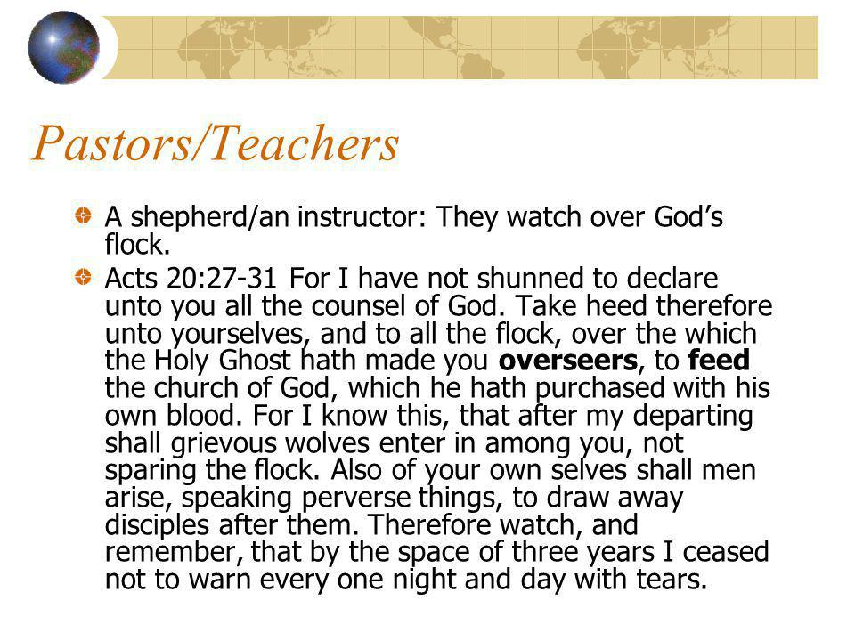 Shepherds/teachers They are to feed, protect, and lead Gods sheep.
