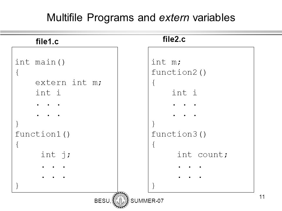 BESU, SUMMER-07 12 Multifile Programs and extern variables int m; int main() { int i;...