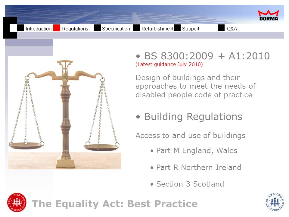 Introduction Regulations Specification Refurbishment Support Q&A Why follow this guidance.