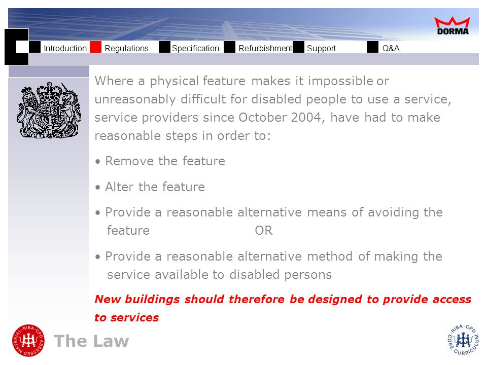 Introduction Regulations Specification Refurbishment Support Q&A Who is a service provider.