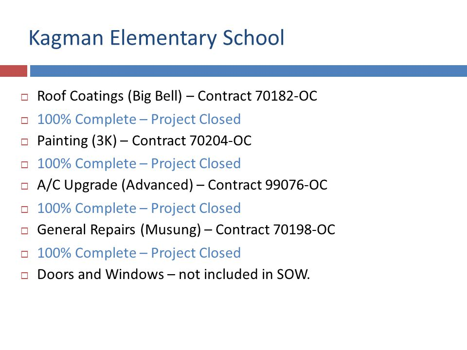 Kagman Elementary School Roof Coating and A/C Upgrade