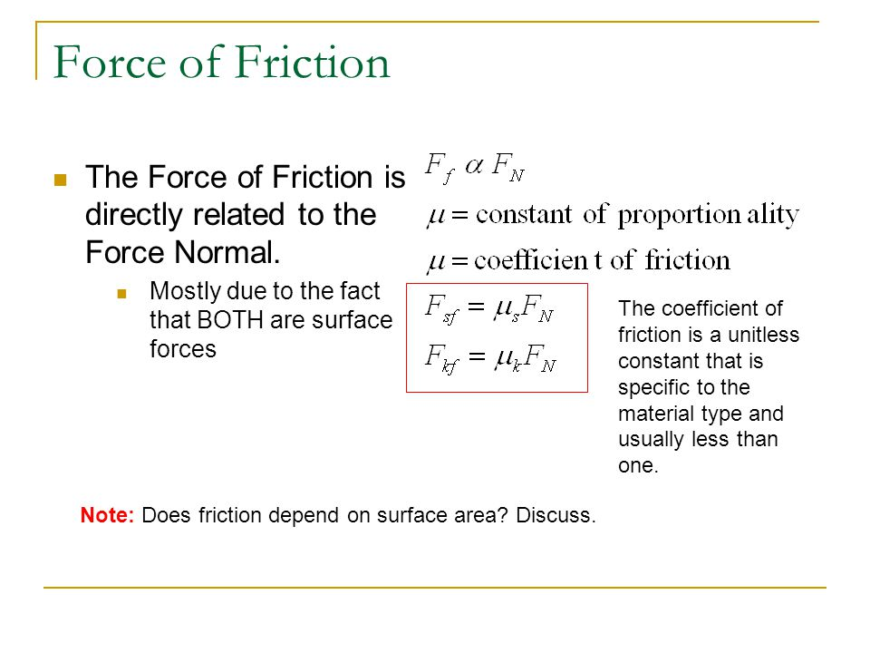 Some Common Coefficients of Friction