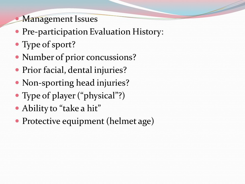 Second Impact Syndrome this occurs when an athlete ( generally seen in children under 18) has sustained a head injury – usually a concussion and then sustains a second concussion before the symptoms associated with the first injury have totally resolved the athlete may receive a relatively minor second blow to the head – the athlete often continues to compete and may be able to function fine for a short period of time