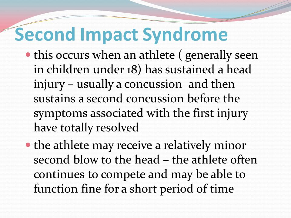however the cranium becomes engorged with blood increasing the pressure on the brain the athlete collapses, slips into a comatose state and respiratory failure ensues the usual time from second impact to brainstem failure is rapid, 2 to 5 minute