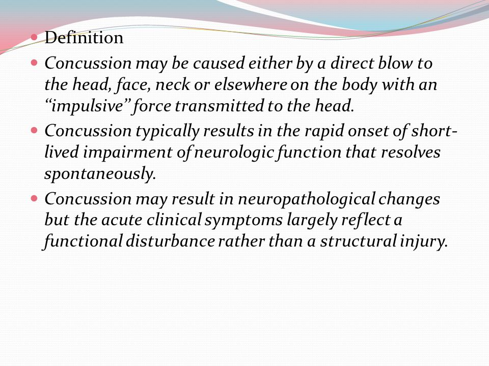 Concussion results in a graded set of clinical symptoms that may or may not involve loss of consciousness.