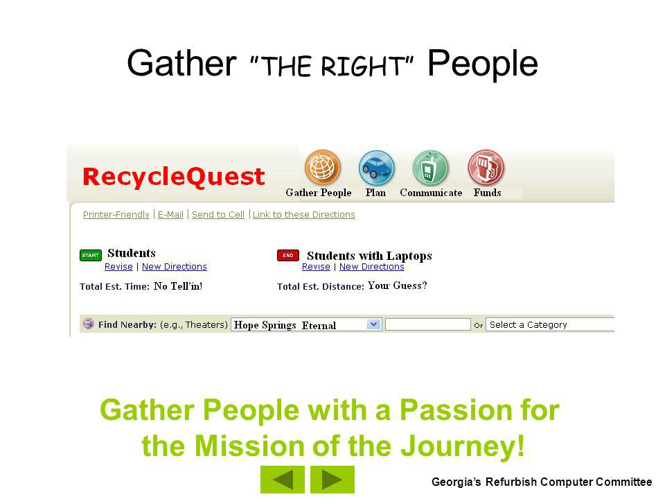 Gather THE RIGHT People Gather People with a Passion for the Mission of the Journey.