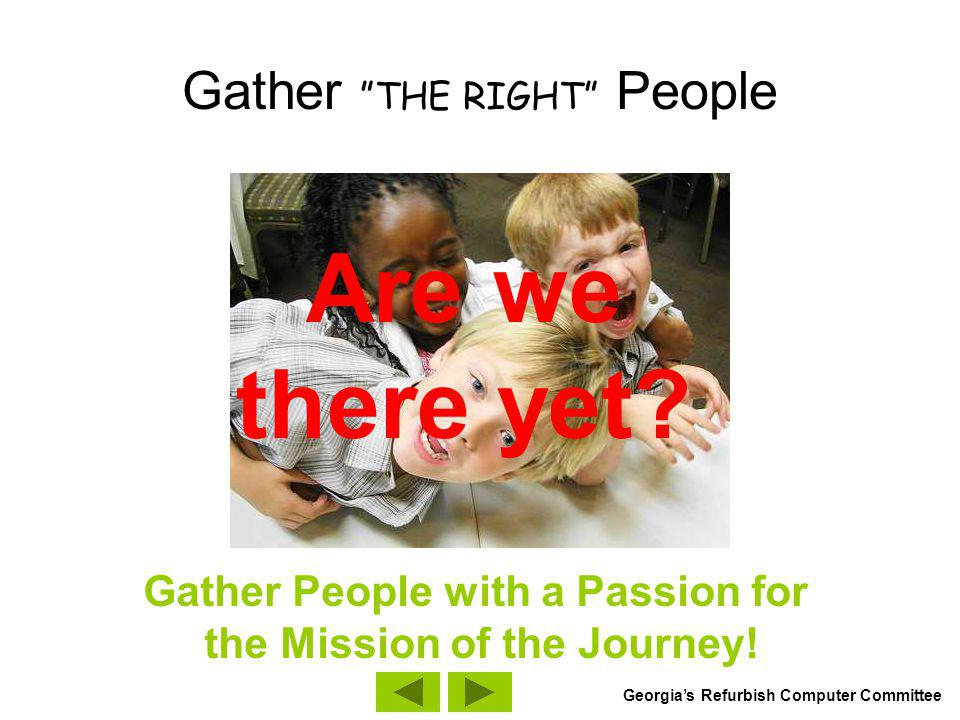 Gather THE RIGHT People Pick people who have know how.