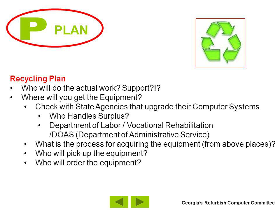 PLAN Recycling Plan Where will you get Software and Hardware: TechSoup.org http://www.techsoup.org/http://www.techsoup.org/ MAR (Microsoft Authorized Refurbisher) http://www.techsoup.org/mar/http://www.techsoup.org/mar/ TechFoundation – http://www.techfoundation.orghttp://www.techfoundation.org Freeware: Screen Reading/Text-To-Speech Software (http://www.readplease.com)http://www.readplease.com Free Anti-Virus Software (AVG www.grisoft.com/us/us_dwnl_free.php)www.grisoft.com/us/us_dwnl_free.php Free Anti-Spyware Software (http://spywarebot.com/)http://spywarebot.com/ Typing Tutor Software (http://www.typefastertypingtutor.com/)http://www.typefastertypingtutor.com/ Screen Capture Software: Screen Flash: (http://unflash.com/)http://unflash.com/ Georgias Refurbish Computer Committee