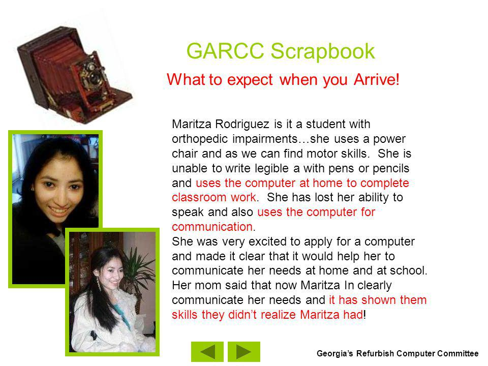 GARCC Scrapbook What to expect when you Arrive.