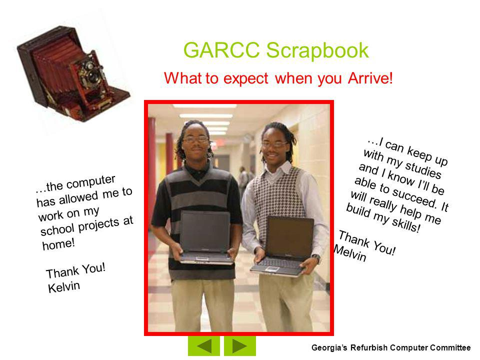 GARCC Scrapbook What to expect when you Arrive.I really appreciated the generous donation.