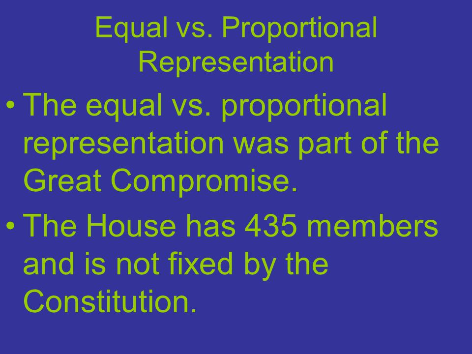 The Constitution says that the total number of seats in the House of Representatives will be apportioned (distributed) among States on the basis of their population.