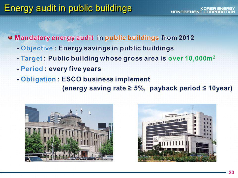 24 Renewable energy facility in public building year2011~2012 installation rate 10% 2013 11% 2014 12% 2015 13% 2016 14% 2017 15% 2018 16% 2019 18% 2020~ 20%