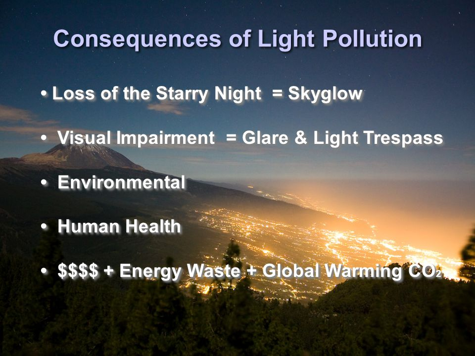 Artificial Night Sky Brightness due to Light Pollution Cinzano, Falchi, and Elvidge, 2001