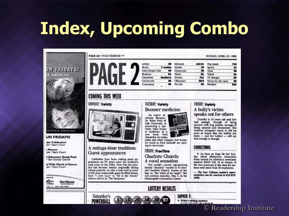 Index, Upcoming Combo