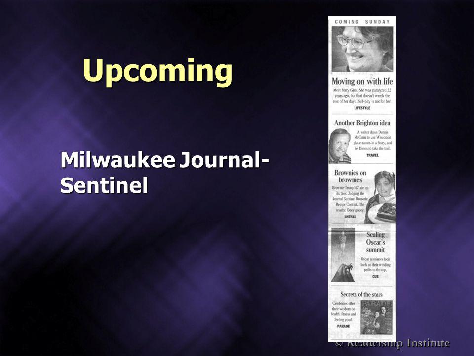 Upcoming Milwaukee Journal- Sentinel