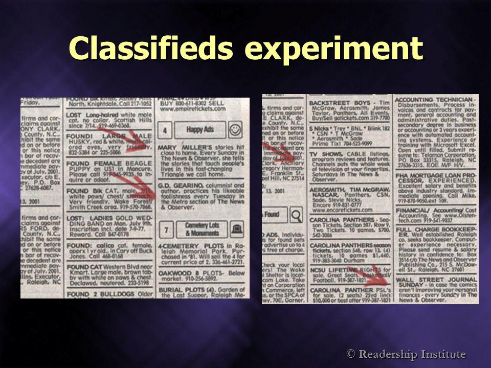 © Readership Institute Classifieds experiment