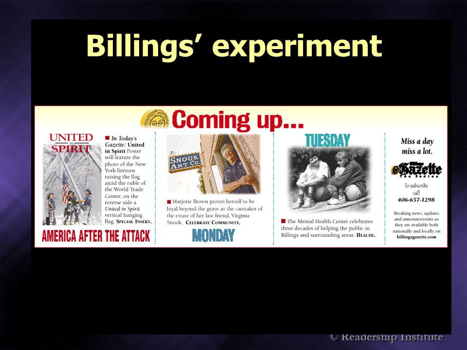© Readership Institute Billings experiment