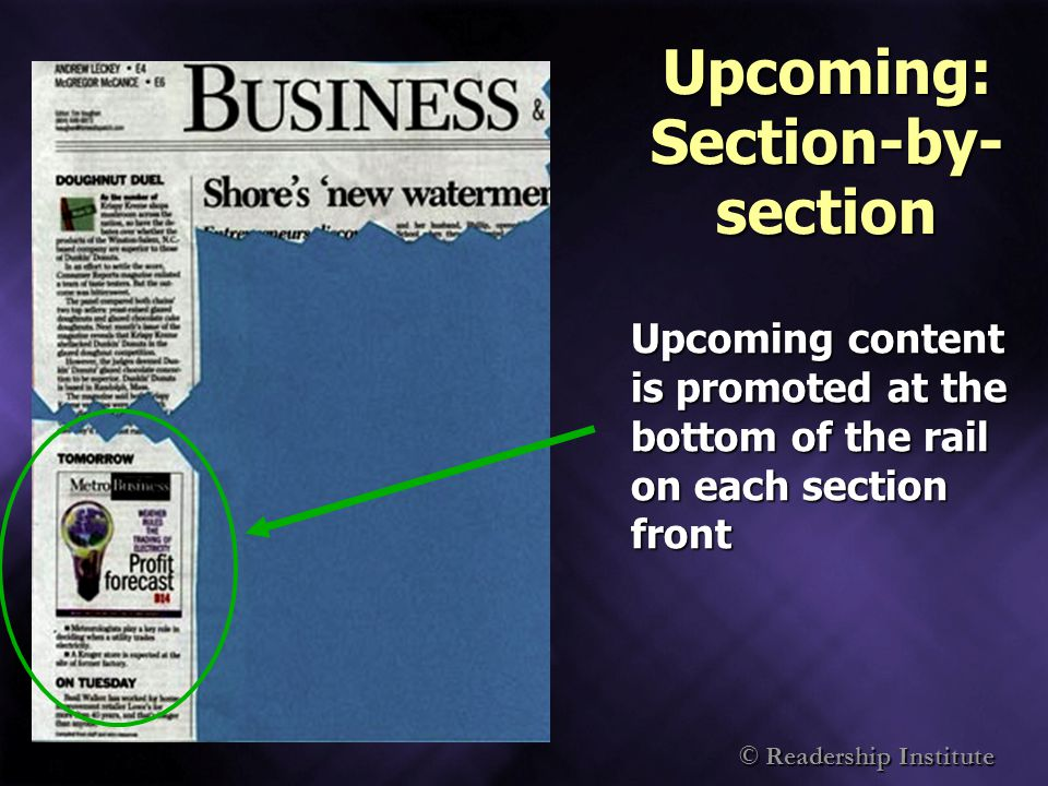 © Readership Institute Upcoming: Section-by- section Upcoming content is promoted at the bottom of the rail on each section front