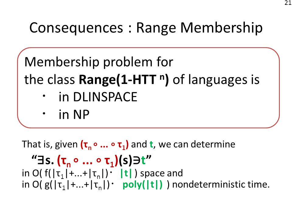 22 Consequences : Range Membership P ROOF Guess (in NP) or exhaustively try (in DLINSPACE) all the intermediate trees: s 0...