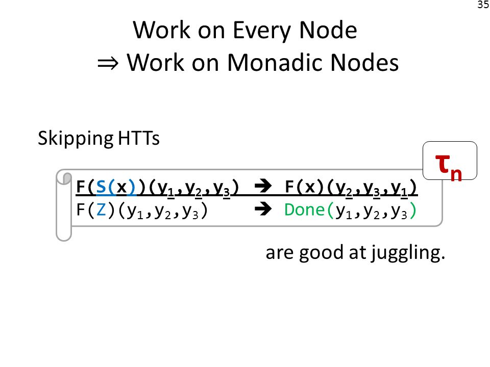 36 Work on Every Node Work on Monadic Nodes Nondeterministic deletion again.