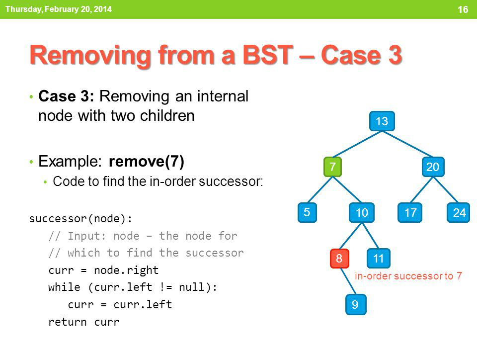 Removing from a BST – Case 3 Case 3: Removing an internal node with two children Example: remove(7) Second, lets replace the data of the node to remove with that of its successor.