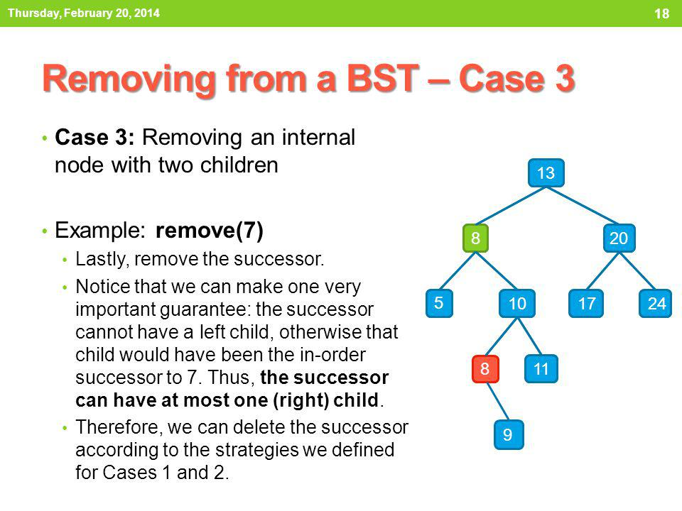 Removing from a BST – Case 3 Case 3: Removing an internal node with two children Example: remove(7) In this case, we remove the successor according to Case 2: internal node with one child.