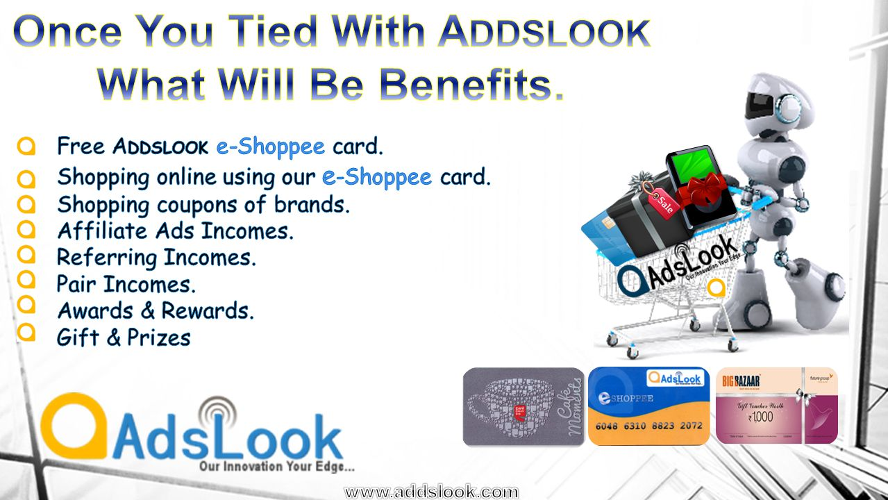 Sl No Top-up Amount No Of Affiliate Ads Payment Per Day By Affiliate Ad Total Affiliate Ad Income 1.5,000/- Daily 2 ad for 100 days 100/- Affiliate Income 50/ad 10,000/- 2.10,000/- Daily 4 ad for 100 days 200/- Affiliate Income 50/ad 20,000/- 3.25,000/- Daily 6 ad for 100 days 600/- Affiliate Income 100/ad 60,000/- 4.50,000/- Daily 8 ad for 100 days 1,200/- Affiliate Income 150/ad 1,20,000/- 5.1,00,000/- Daily 10 ad for 100 days Rs 2,350/- Affiliate Income 235/ad 2,35,000/-