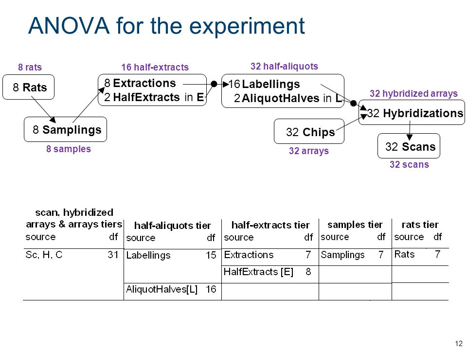 ANOVA for the experiment (contd) 13 Shows can measure variability from: Rats + Samplings + Extractions (biological replication); Extractions HalfExtracts + Labellings; Labellings AliquotHalves + Chips + Hybridizations + Scans.