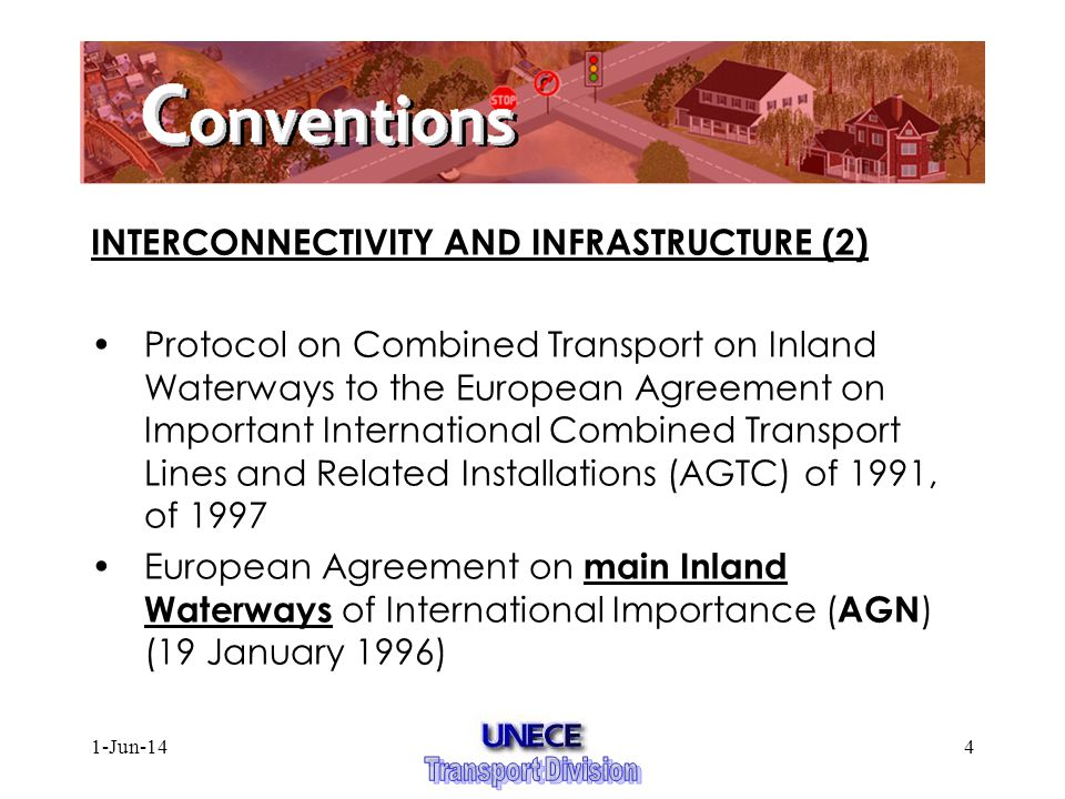 1-Jun-144 INTERCONNECTIVITY AND INFRASTRUCTURE (2) Protocol on Combined Transport on Inland Waterways to the European Agreement on Important International Combined Transport Lines and Related Installations (AGTC) of 1991, of 1997 European Agreement on main Inland Waterways of International Importance ( AGN ) (19 January 1996)
