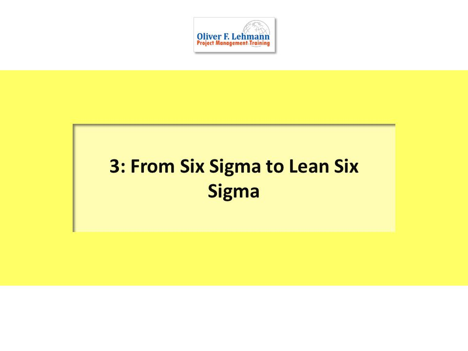 27 3: From Six Sigma to Lean Six Sigma Total Quality Management History Lean Six Sigma