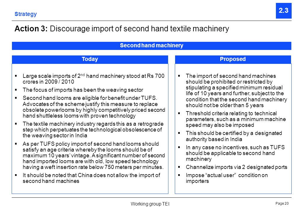 Page 21 Working group TEI Strategy 2.3 Action 4: Establish Technology Upgradation Fund Second hand machinery TodayProposed There is no special fund for the textile machinery industry per se.