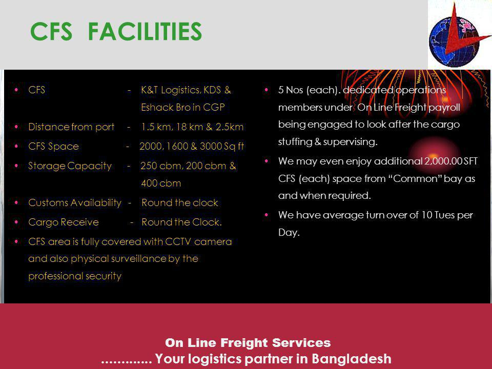 CONTINUED ….CFS IN CHITTAGONG FOR SEA FREIGHT On Line Freight Services.............