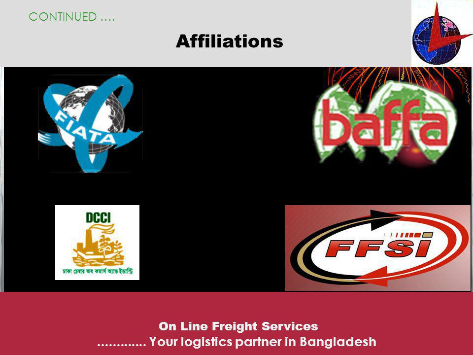 Airline representations CONTINUED ….On Line Freight Services.............
