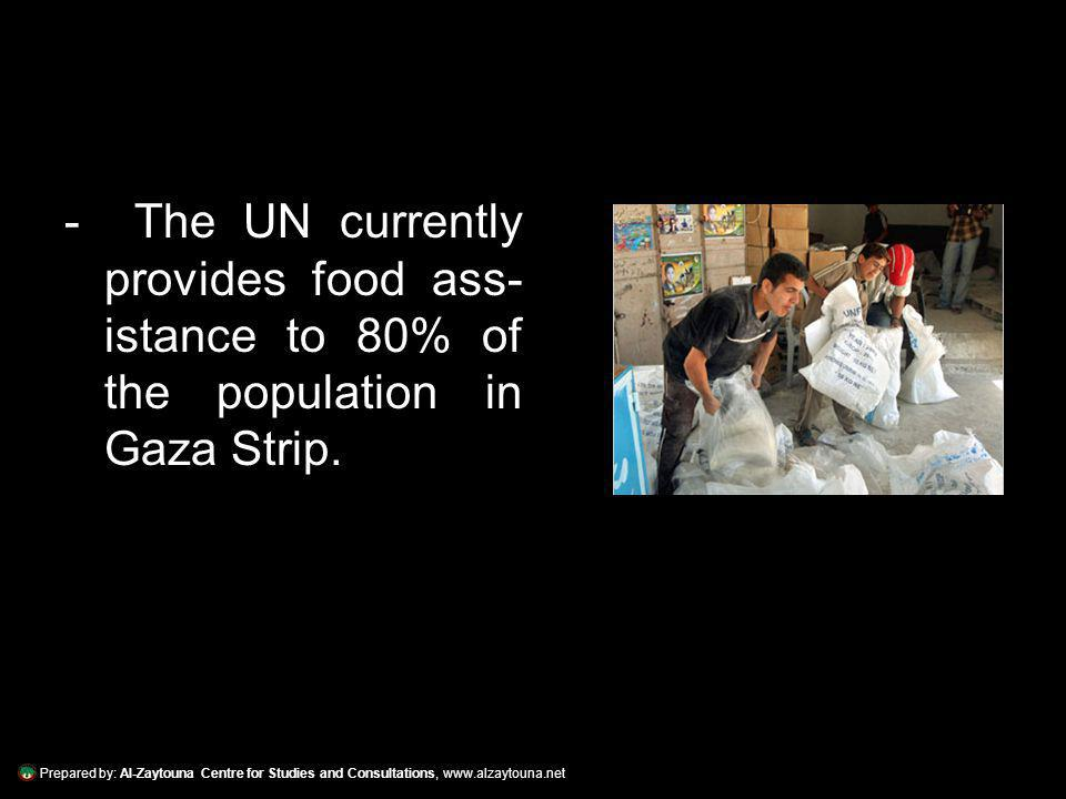 Prepared by: Al-Zaytouna Centre for Studies and Consultations, www.alzaytouna.net - Food aid in Gaza is dispensed by the United Nations Relief and Works Agency (UNRWA) to 850,000 refugees and WFP to 300,000 non- refugees.