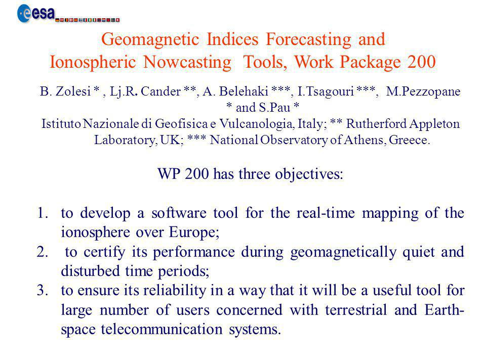 Ionospheric Nowcasting Tools (INT) provide the ionospheric nowcasting maps of the maximum electron density (foF2) and of the transmission factor M(3000)F2 in a region of main interest for the users as described in the GIFINT technical proposal.