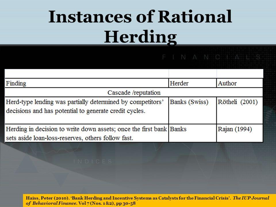 Instances of Rational Herding Haiss, Peter (2010).