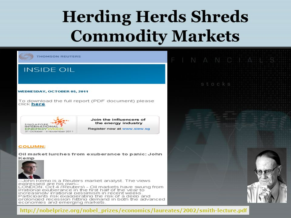 Herding Herds Shreds Commodity Markets http://wikiposit.org/05/futget?ticker=CL&month=1 Oil Future (CL1): Price