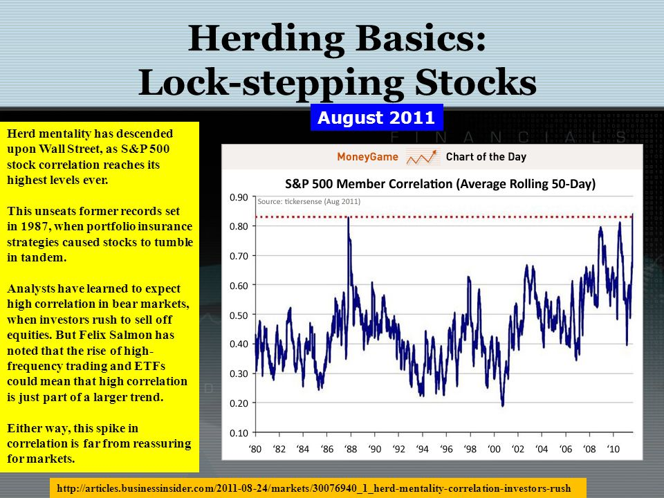 Herding Basics: Lock-stepping Stocks The correlation of moves in individual stocks and the S&P 500 index is at a record, making the job of long-only mutual fund managers to differentiate from the benchmark virtually impossible, according to a report from Goldman Sachs.