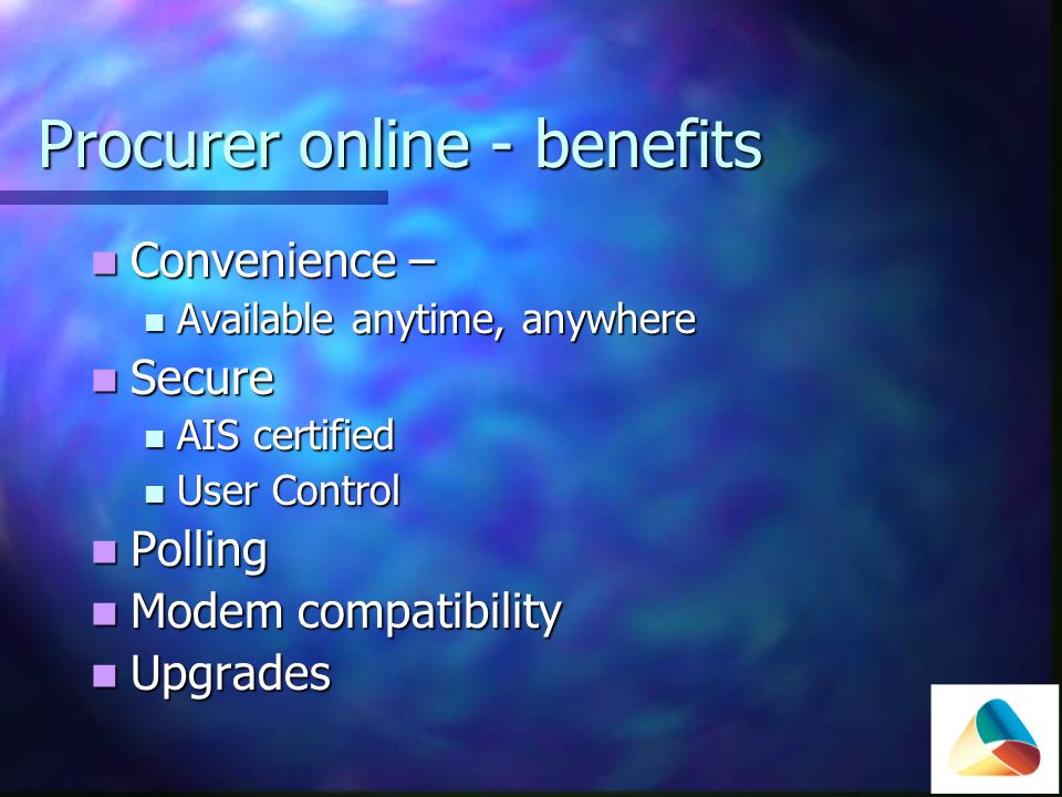 Procurer online front screen