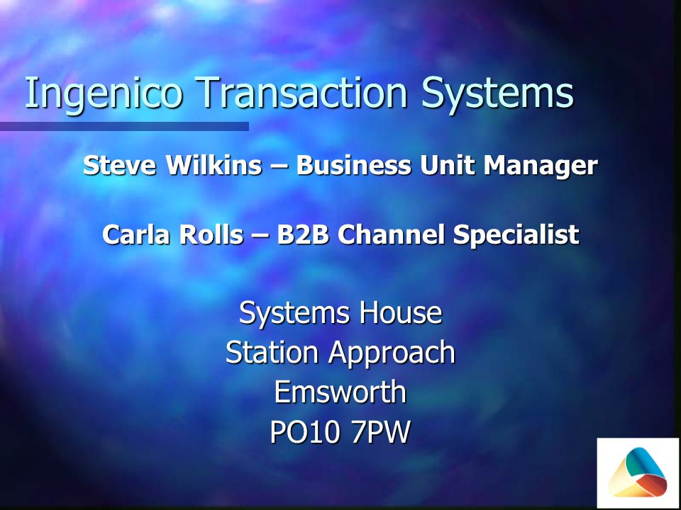 Ingenico Transaction Systems Specialists in developing, supplying and supporting software & services for any form of transaction handling Specialists in developing, supplying and supporting software & services for any form of transaction handling B2B specialists B2B specialists EFT EFT Loyalty Loyalty Citizens Cards Citizens Cards