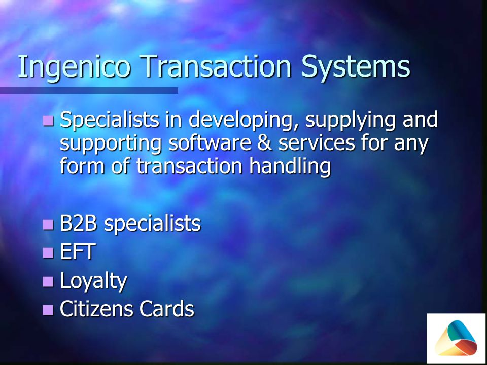 B2B Comprehensive suite of Purchasing card solutions available Comprehensive suite of Purchasing card solutions available Integrated Integrated PC Standalone PC Standalone Web based Web based Transaction terminals Transaction terminals Paper based Paper based Invoice Matching Service Invoice Matching Service