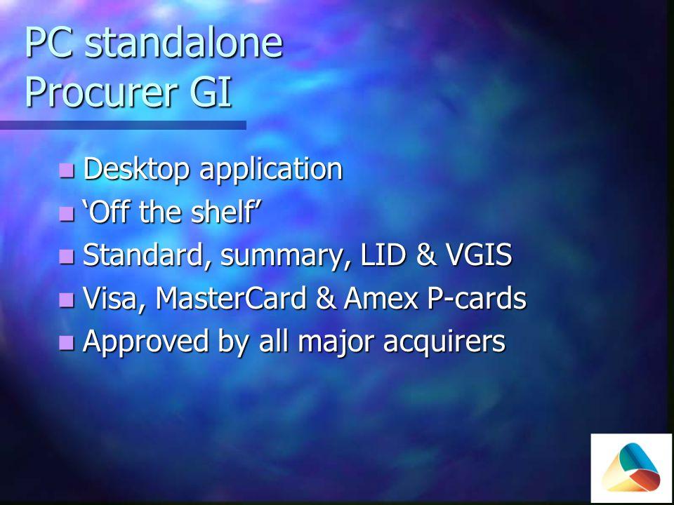 Web Hosted Procurer GI online Web hosted Web hosted Standard, Summary, LID & VGIS Standard, Summary, LID & VGIS Visa, MasterCard & Amex P-cards Visa, MasterCard & Amex P-cards