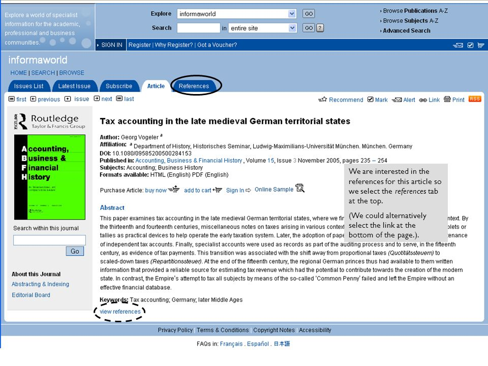 References are displayed with hyperlinks to view possible places we can read the cited article