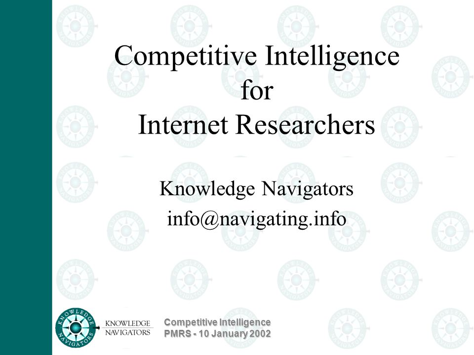 Competitive Intelligence PMRS - 10 January 2002
