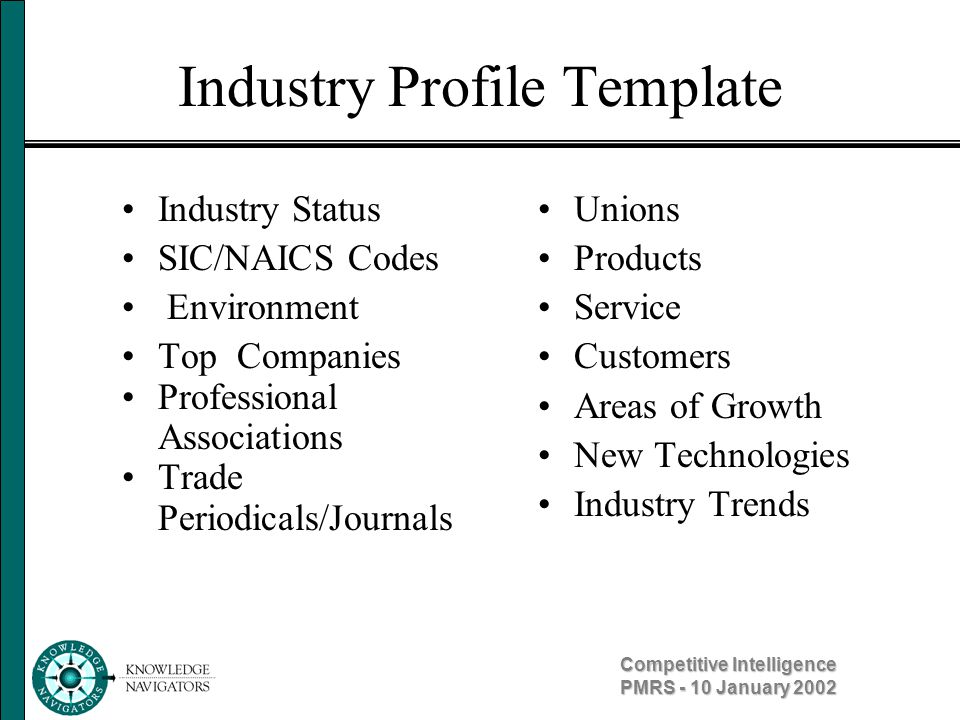 Competitive Intelligence PMRS - 10 January 2002 Company Profile Template General Information Relationships Competitive Environment Personnel Goals and Strategies Financial Information Products and Services Market Technology Issues Capabilities Threats